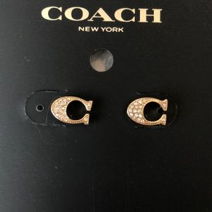 NWT Brand new!-Coach Signature Stud Earrings-Gold